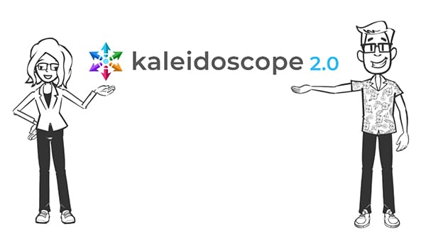 Doodle drawing of Charis and Ted presenting Kaleidoscope 2.0