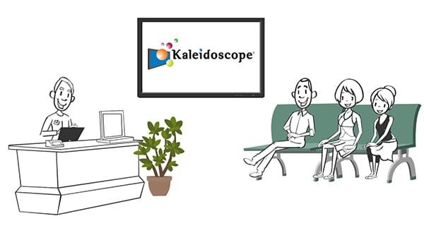 Doodle drawing of Kaleidoscope 1.0 digital signage